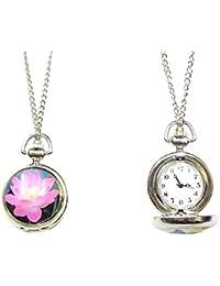 Ladies Girls Pink Flower Pocket Clock Watch Gift Fancy Dress Necklace Pendant Costume Jewellery