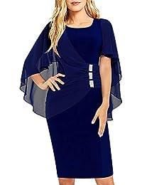e6b076f8bf3456 SOLERSUN Damen Chiffon Plus Size Rüschen Schmeichelhaft Cape Sleeve  Business Wear zur Arbeit…