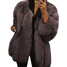 FNKDOR Manteaux en Fausse Fourrure pour Femmes d hiver Chaud Épais Veste à  Manches Longue 9881e7d195f