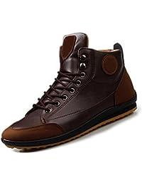 Gleader Hombres ocasional invierno del Alto-top zapatos de terciopelo calidas botas impermeables Zapatillas Marron oscuro( Tamano: 42 )