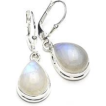 Mystic Silver - Preciosos Pendientes - Piedra natural de Piedra de luna Alta Calidad, Plata de ley 925. 34mm 6g