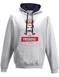 Sudadera capucha Bico parodia Vintage Creation Freddie Cantante Leyenda Mercury, Arctic White-French Navy