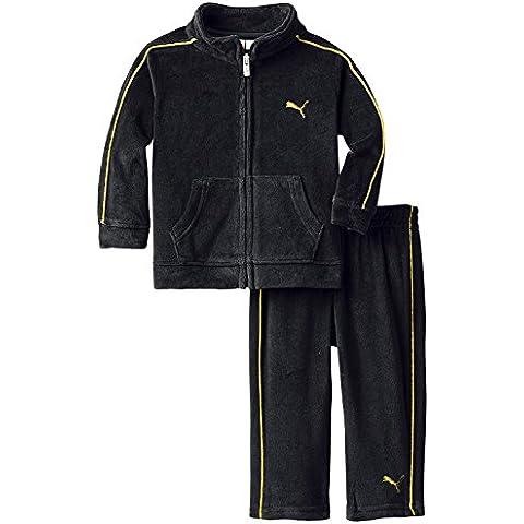 Puma Baby Chándal para niño Sport Chaqueta + Pantalón terciopelo negro amarillo (80)