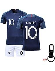 Yueyue Maillots de Football Enfants de France Soccer Jersey 2018 Coupe du Monde France 2 Étoiles Football T-Shirt et Short