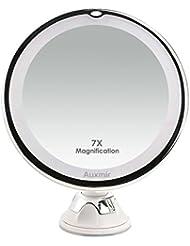 Auxmir Kosmetikspiegel LED Beleuchtet mit 7X Vergrößerung und Saugnapf, 360° Schwenkbar, Make-Up-Spiegel Schminkspiegel mit Blendfreier Beleuchtung für Zuhause und Unterwegs