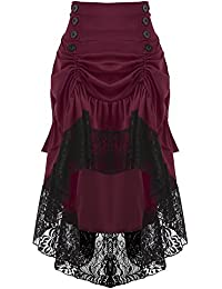 eb79537342 Rosegal Gothic Steampunk Ruffled Skirt High Waisted Lace Insert Midi Party  Dress