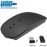 Kabellose Maus Wiederaufladbare, 2.4G Geräuschlose Tragbar Mäuse Mouse Wireless Maus mit USB Nano Empfänger und USB-C Adapter, Optische Maus für PC Laptop iMac MacBook Microsoft Pro, Office Home