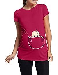 116d47a2bf4a8 Anglewolf Women's Maternity Slogan Little Feet Funny Print Top T-Shirt  Women's Shirt Baby Peeking