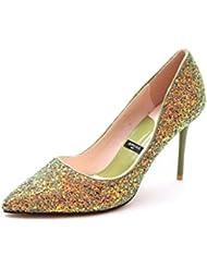 ALUK- Europa y los Estados Unidos - los zapatos de lujo de la boda de los cequis señalaron gradiente con los zapatos de la manera de los altos talones ( Color : Verde , Tamaño : 36-Shoes long230mm )
