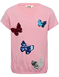M&Co Girls 100% Cotton Pink Short Sleeve Two Way Sequin Butterfly Design Bubble Hem T-Shirt