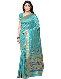 Inddus Blue Banarasi Art Silk Zari Woven Saree