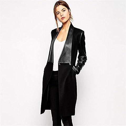 Moda señoras delgado largo lana abrigo , black , l