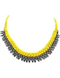 Muccasacra Traditional And Stylish Necklace With Sunny Yellow Sterling Silver, Cotton Dori Necklace