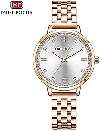 MINI FOCUS MF0047L Reloj de Mujer Reloj de Cuarzo Correa de Acero Inoxidable Pantalla de Casual