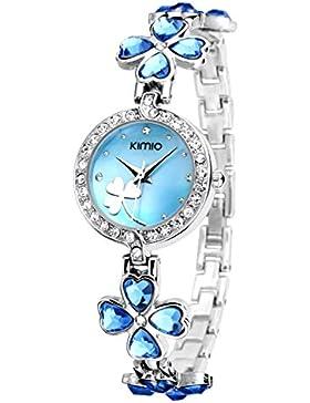 Ostan Damen Uhren Mode Herz Kristall Blume Rund Förmigen Zifferblatt mit Zirkonia Armkette Armband Armbanduhr...
