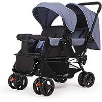 Guo@ Carro infantil doble, cochecito de bebé gemelo Peso ligero plegable Carro de bebé