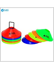 SAS SPORTS Training Cones for Football with Stand - 2 Inch Space Marker Cones-Multi-Color