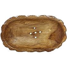 JustNile Barra interior de madera rústico plato de jabón titular con orificios de drenaje para baño/fregadero de cocina–Oval