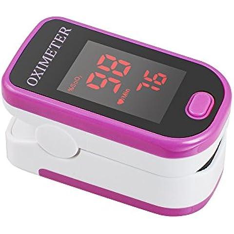 Carejoy SpO2 PR de dedo con forma de pulso de dedo Monitor oxímetro de portátil de luces de medición de tensión arterial Rose de bombona de