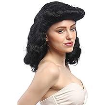 WIG ME UP ® - 91020-ZA103 Peluca señoras Carnaval Negro Largo Copete Rockabilly 1950