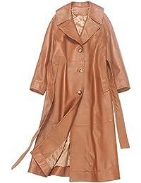 Imzoeyff Cappotto Lungo in Pelle da Donna Cappotto Lungo in Trench con  Cintura Cintura in Pelle a68d535e815