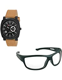 Magjons Fashion Black Analog Watch And Sunglassses Combo For Men And Women - B0735CTH6J