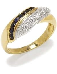 Gioie Bague Femme en Or 18 carats Blanc/Jaune avec Zircon Noir et Zircon Blanc