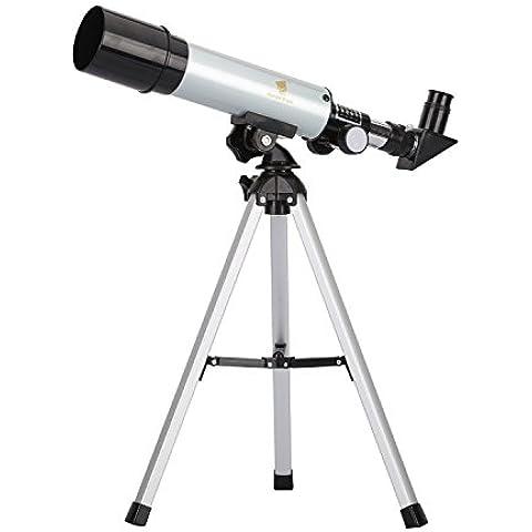 GEERTOP 90X Telescopio Refractor Básico, 360×50mm, para niños Observar el Cielo y Observación de aves