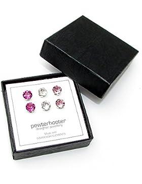 - Ohrstecker, Damen, Sterlingsilber, fachmännisch hergestellt aus rosafarbenem, fuchsienfarbenem und klarem Kristall...
