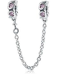945b84a349e9 Cadena de seguridad de corazón rosa de plata de ley 925 con diseño de  corazón
