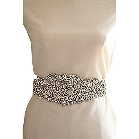 TRLYC Fajín cinturón color Champán para vestido de novia con aplicaciones de cristal
