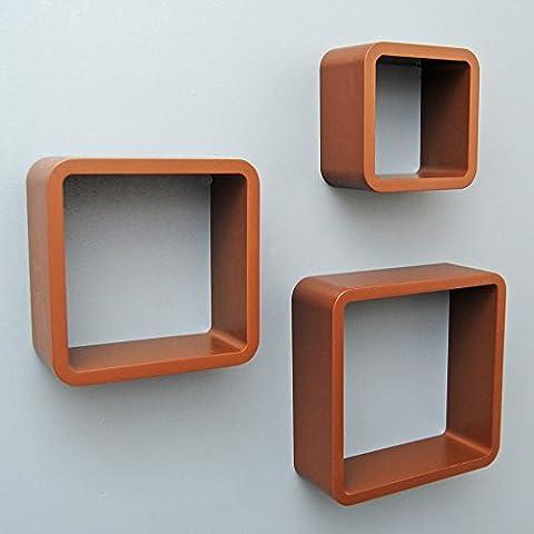 Ts-Ideen 7504 - Set scaffali a cubo, design rétro anni '70, da appendere alla parete o appoggiare sul pavimento, 3 pezzi, colore: Marrone