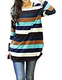 Romacci Korean Fashion Women Slouchy T-Shirt colorful Stripes Knitted Long Shirt Pullover Tops Multicolor