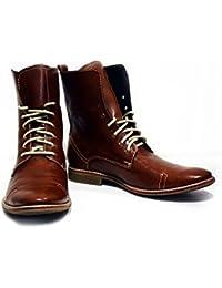 00db4814dd6f PeppeShoes Modello Florenze - Handgemachtes Italienisch Leder Herren Braun  Hohe Stiefel - Rindsleder Weiches Leder -