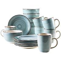 Domestic by Mäser Serie del Tempo –Set de desayuno, 18piezas, para 6personas, porcelana, 30x 40x 40cm, porcelana, azul claro, 30 x 40 x 40 cm