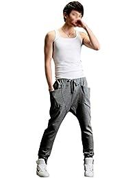 SODIAL (R) Hombres Mujeres Casual Harem holgado marimachos Hip Hop Danza Pantalones de chandal (Gris oscuro) - XXL