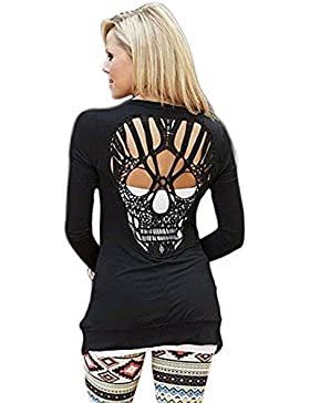 Nlife Womens Long Sleeve Open Front Back Cut Out Skull Cardigan Tops