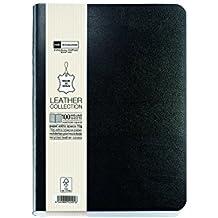 Basicos MR 10415 - Flexible piel cuaderno 8º300 hojas, horizontal con goma, color negro