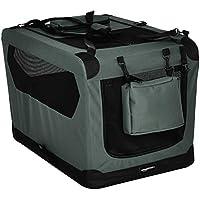AmazonBasics – Transportín para mascotas abatible, transportable y suave de gran calidad, 76 cm, Gris