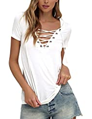 StyleDome Blusa Camiseta Casual Elegante Verano Cuello Profundo V Tiras Mangas Cortas para Mujer