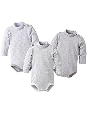 Bornino Langarmbody mit Rollkragen (3er-Pack) / Basics Babybekleidung langarm/weiß/grau