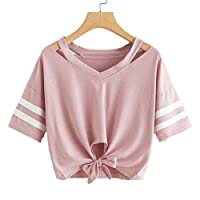 Women Short Sleeve T-Shirt Tops ❀ Ladies Round Neck Casual Tops Blouse Striped Printed Sleeve Solid Fashion Short Blouse Tops
