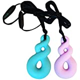 ROSENICE Baby Infant Newborn Teething Necklace For Sensory 2PCS (Light Blue And Purple)