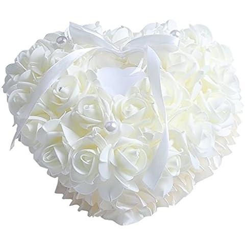 Cuore rosa fiore stile Sposa Cerimonia tasca cuscino cuscino portatore dell'anello con un bianco di forniture di gioielli anello caso matrimonio decorazione prodotto - Amore Del Cuore Torta Nuziale