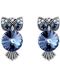 e0c15f7a2855 Moodn Pendientes Mujer Búho Originales Pendientes Etnicos Azul Cristal  Austriaco Pendientes Swarovski Mujer Sencillos Encantador Aretes