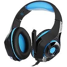 Auriculares gaming TeckNet Auriculares para gaming de diademas cerrados con micrófono, Control integrado, Para PC, PS4, Xbox, 3,5 mm