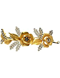 Mansiyaorange Multi Purpose Party Wedding Wear Golden Hair Accessory/Hair Comb/Hair Clip/Hair Tiarra Hair Band...