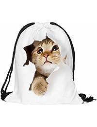 Sannysis - bolsos de mujer con cordón, mochila infantil impresión de mascota