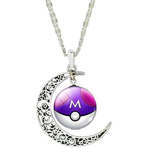 Mnpkmn - Collar De Bolas Pokemon Go Empuje 'Poke-Bolas De Doble Luna Colgante Y CabujóN En 7 Colores Para Elegir (PúRpura Y
