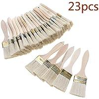 PRINDIY 23pcs Pinceles Cepillo de cerdas con Mango de Madera para Muebles y Pintura de Pared 2 Pulgadas